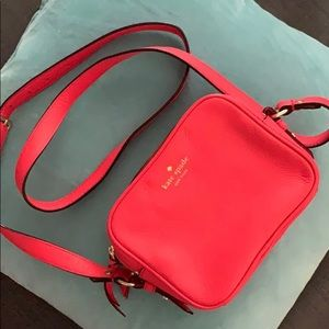 kate spade kingston drive coral leather crossbody